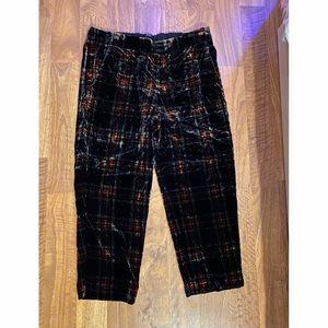 J. Crew Tartan Velvet Easy Pants